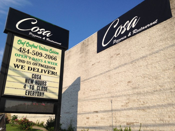 Cosa Pizzeria and Restaurant opened in May in the former Basil outside Sinking Spring.