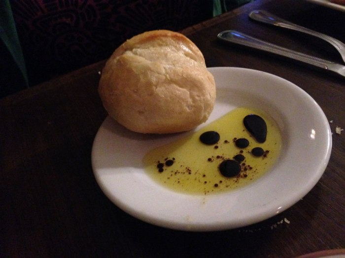 Dinner roll and oil from Franklin House Tavern