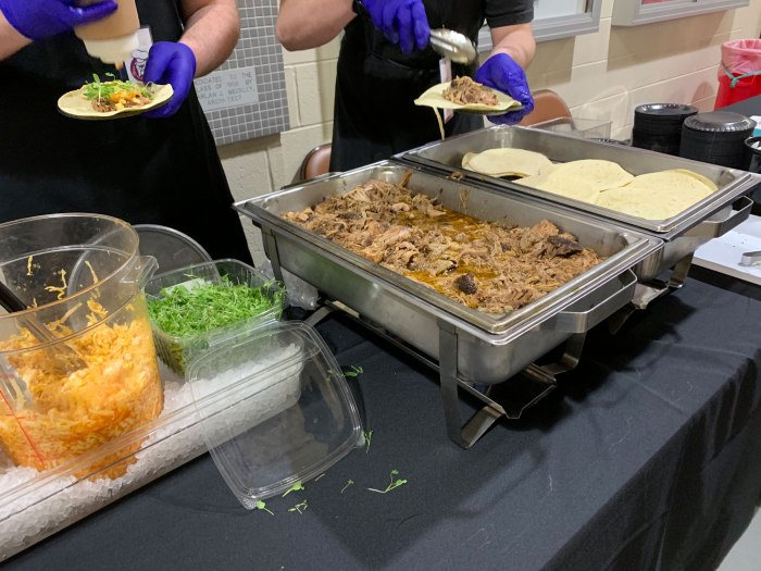 Building 24 serving cocoa rubbed pork tacos