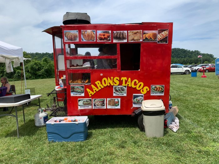Aaron's Tacos is probably Berks County's smallest mobile restaurant - the little red wagon is barely big enough for the two employees who were running it.