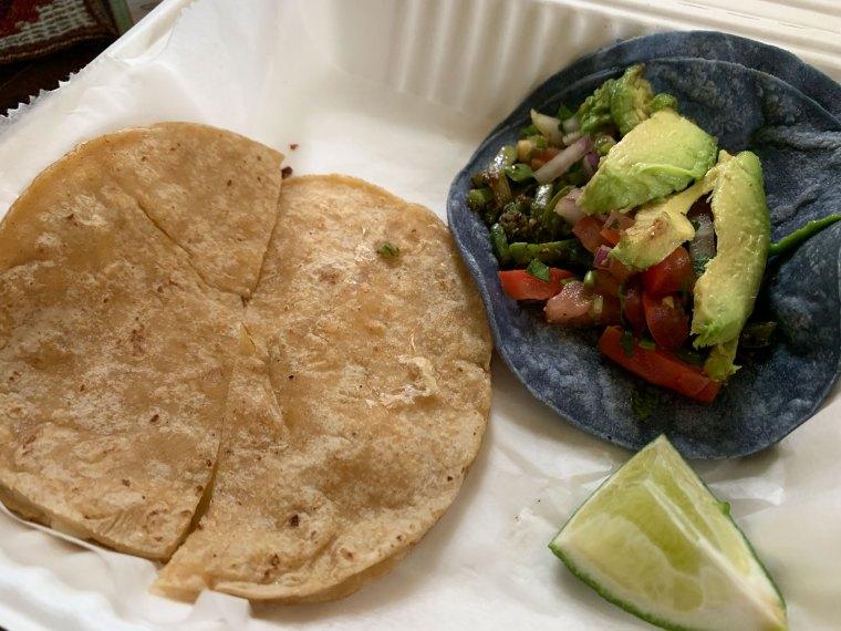 A plain quesadill and a taco at Comalli Taqueria