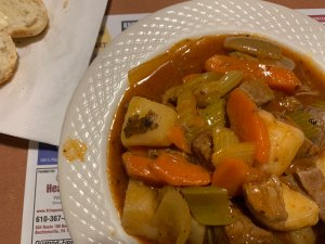 A bowl of beef stew - roast beef, carrots, potatoes, onion and celery - from Pied Piper Diner