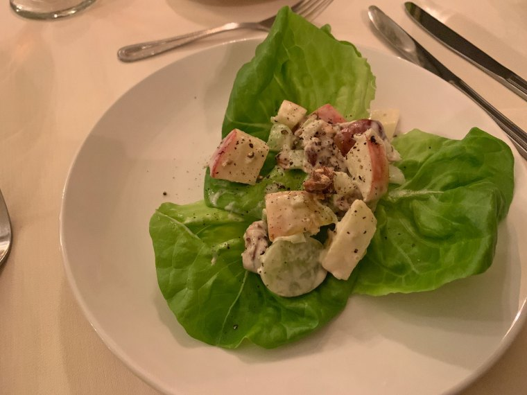 Leaves of Bibb lettuce topped with apples, walnuts, celery and grapes from the Inn at Centre Park