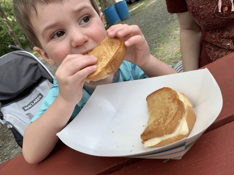 Toddler eating a grilled cheese sandwich at a picnic table