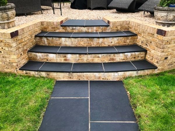 Black Limestone Paved Steps After Renovation Highclere Village