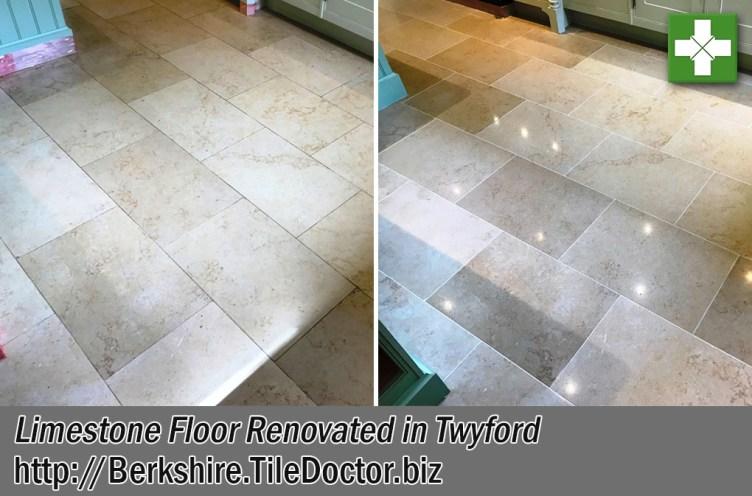 Jerusalem Limestone Tiled Kitchen Floor Before After Renovation Twyford