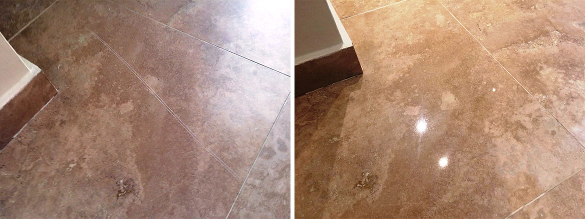 Scratched Travertine Tiled Floor Repaired in Hunt Final