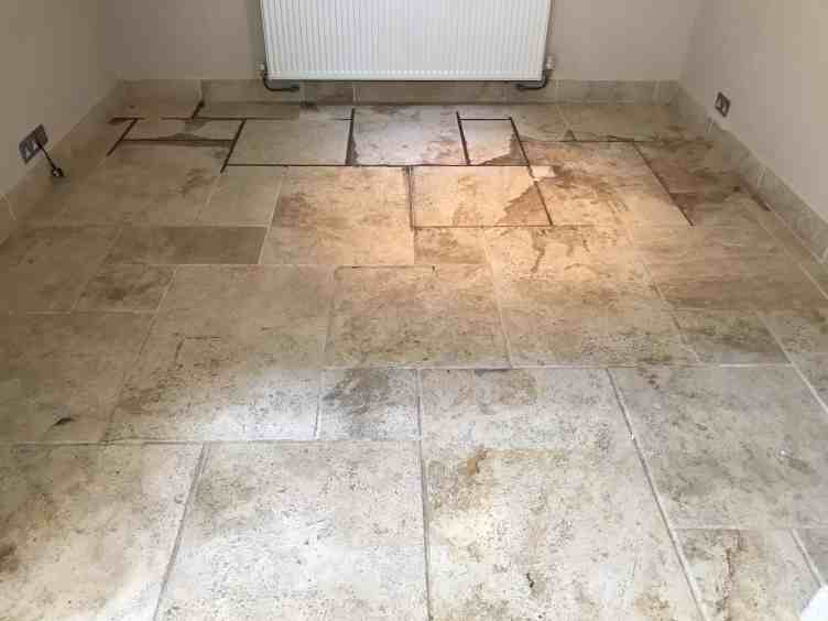 Travertine Floor Before Red Wine Stain Removal Swallowfield Reading