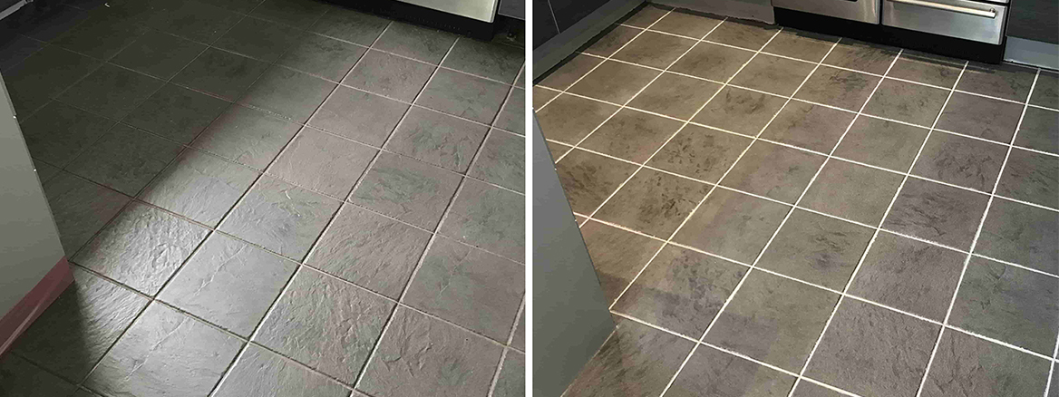 Removing Grout Haze and Grout Colouring a Ceramic Tiled Floor in a Sandhurst Kitchen