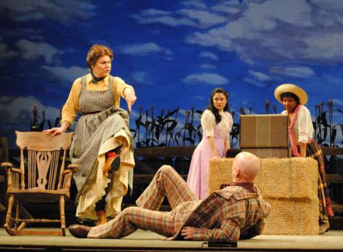 Kristine Zbornik, Diane Phelan, Chaston Harmon, and Christopher Gurr in Oklahoma! Photo by Abby LePage.