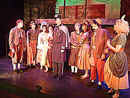 Justin Rugg, Caitlin Lester-Sams, Kelly Teal Goyette, Jimmy Johansmeyer, Mary McNulty, Levi Squier and Ruth Kennedy, the cast of Young Frankenstein.