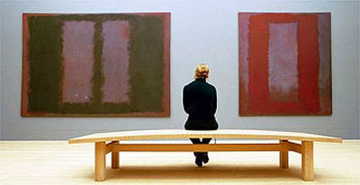 Two of the Rothko Four Seasons paintings that are on display at the Tate and show the vertical panels Rothko used which was a departure from his horizontal format.