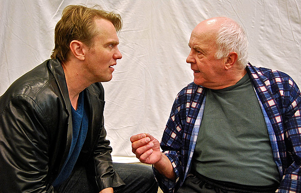 """Rehearsal photo of """"A Number""""  - (lto r) Jay Stratton (Salter's Son) and Larry John Myers (Salter), photo by Daniel Elihu Kramer."""