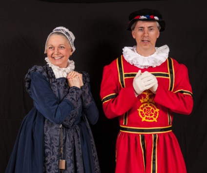 Dame Carruthers (housekeeper to the Tower) and a somewhat reluctant Sergeant Meryll (of the Yeomen of the Guard), played by Kathy Blaisdell and John Healy.