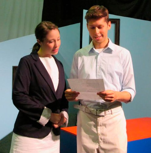 """Caitlin Mesiano and Michael Luongo in """"john & jen""""  at The Theater Barn in New Lebanon, NY from July 30th through August 9th, 2015."""