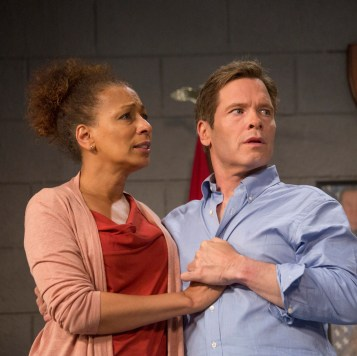 """TV's Tamara Tunie (Law & Order: SVU) stars as Kendra Ellis-Connor opposite Broadway's Michael Hayden as Scott Connor, in the world premiere play """"American Son"""" at Barrington Stage through July 9. Photos by Scott Barrow."""