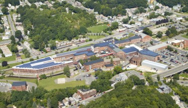 Birds-eye view of MASS MoCA campus and buildings