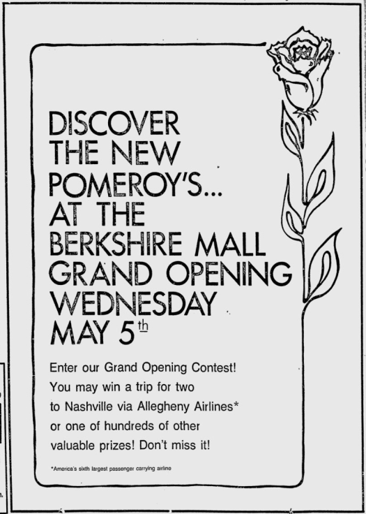 Pomeroy's Grand opening Berkshire Mall 1976