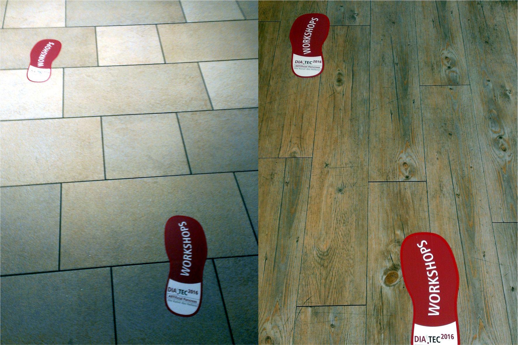 Digitaldruck mit Konturschnitt - Fußbodenfolie als Wegweiser, Stickers