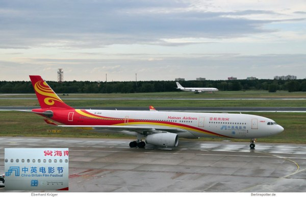 Hainan Airlines, Airbus A330-300 B-8118, Sticker China Britain Film Festival (TXL 15.9. 2017)