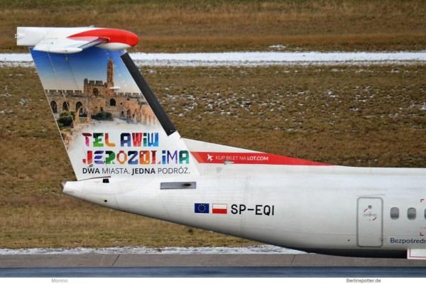 LOT Polish Airlines, Bombardier Q400 SP-EQI, Tel-Aviv-Bemalung (TXL 16.1. 2018)