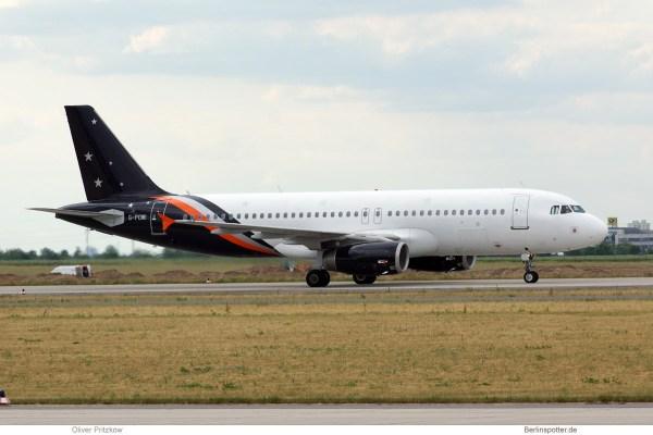 Titan Airways, Airbus A320-200 G-POWI (SXF 9.6. 2015)