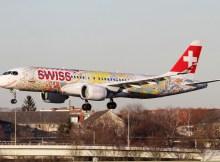 Swiss Airbus A220-300 HB-JCA, Fête des Vignerons 2019 - Fichtre-Bemalung (TXL 15.2.2019)