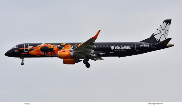 Belavia, Embraer 195 EW-400PO, World of Tanks cs. (SXF 3.3.2019)