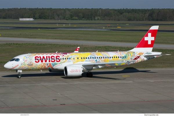 Swiss Airbus A220-300 HB-JCA, Fête des Vignerons 2019 – Fichtre-Bemalung (TXL 24.4.2019)
