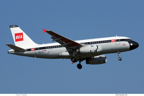 British Airways, Airbus A319-100 G-EUPJ, BEA Retro cs. (TXL 7.4.2019)