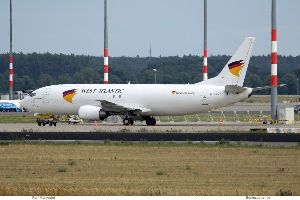 West Atlantic UK, Boeing 737-400(SF) G-JMCY (SXF 11.8.2019)