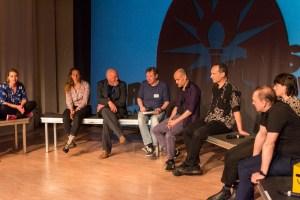 Anna-Lena Kühner, Carina Pesch Hermann Mensing, Moderator Robert Schoen, Frank Schültge, Christian Berner, Niels Schröder, Wolfgang van Ackeren. Bild: Golo Föllmer.