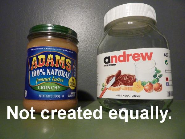 Nutella, peanut butter.