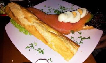 The delicious salmon baguette