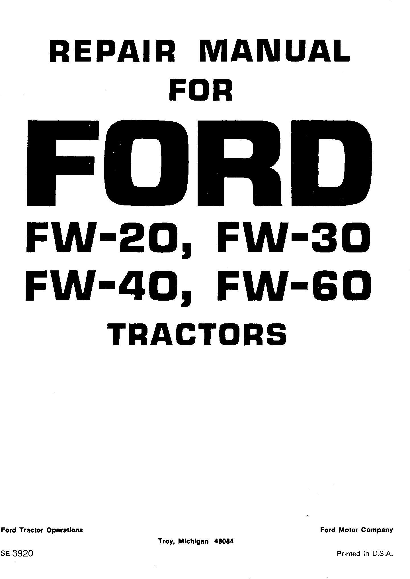Ford Fw20 Fw30 Fw40 Fw60 Tractor Service Manual Se