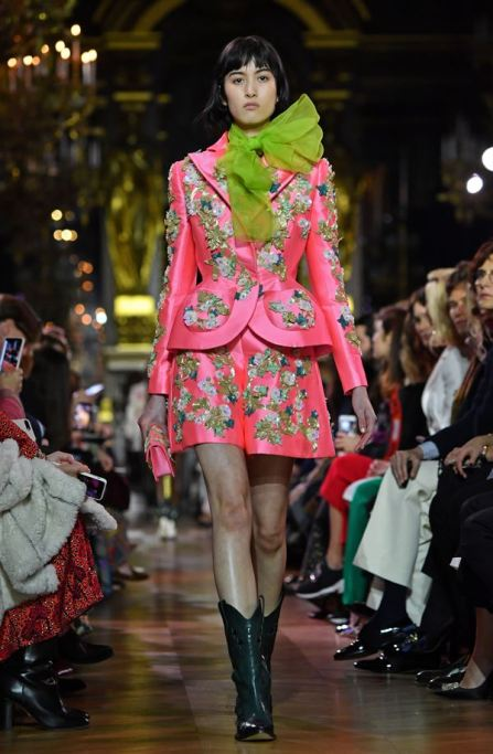 PARIS, FRANCE - JANUARY 21: A model walks the runway during the Schiaparelli Spring Summer 2019 show as part of Paris Fashion Week on January 21, 2019 in Paris, France. (Photo by Pascal Le Segretain/Getty Images)