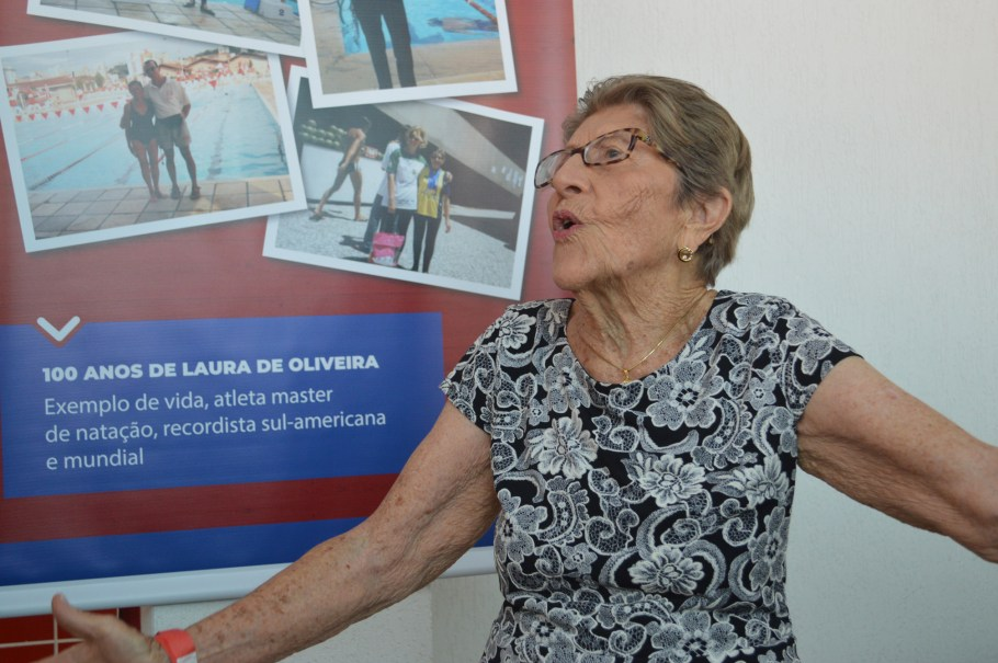 Laura de Oliveira - recorde em natação aos 100 anos - Bernadete Alves