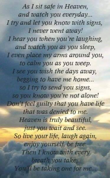 Poem As I Sit Safe In Heaven And Watch You Everyday