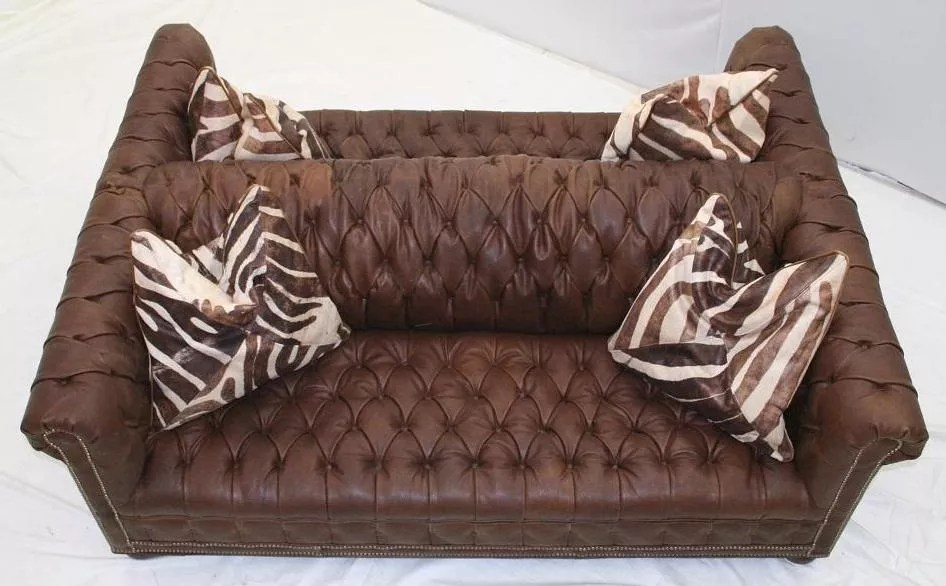 double sided tufted leather sofa high