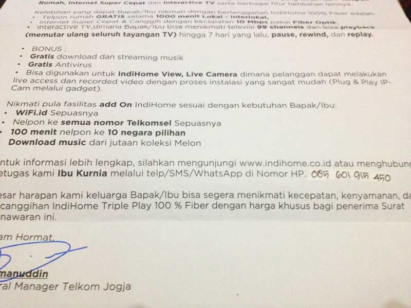 Surat pemberitahuan dari Telkom beserta informasi kontaknya