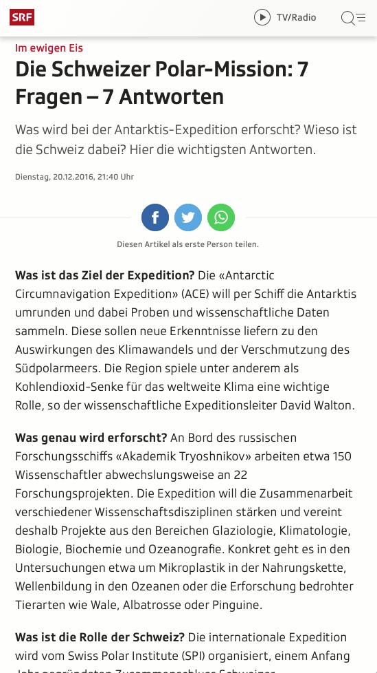 Screenshot Artikel Antarktisexpedition