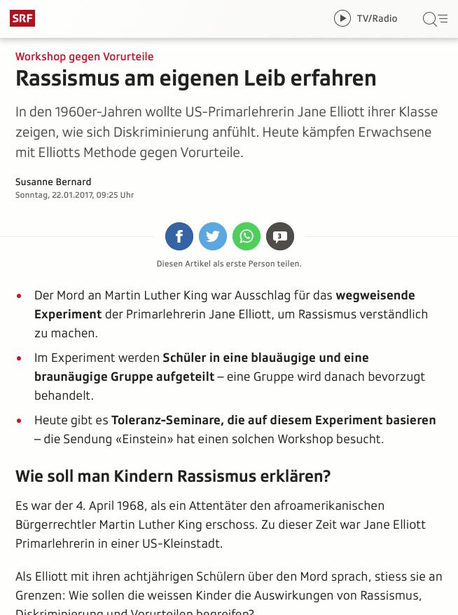 Screenshot Artikel Rassismus