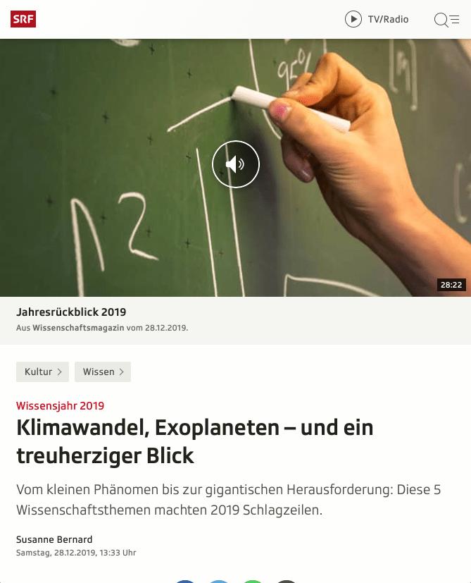 Screenshot Artikel Wissensjahr 2019
