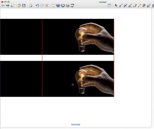 De plaatjes staan recht boven elkaar maar niet in het midden van de bladzijde (de hulplijn loopt van de bovenkant van het object naar de onderkant van het andere object)