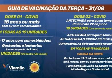 CONFIRA A AGENDA DE VACINAÇÃO CONTRA A COVID PARA HOJE EM VIAMÃO