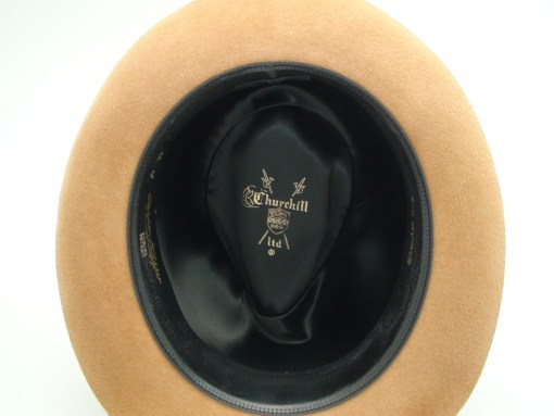 Churchill Hats Light Brown Velour Finish Fur Felt Fedora Hat