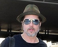 Brad Pitt Looking Good Sporting Fedora Hat