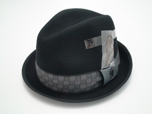 Stacy Adams Fedora Crushable Black Wool Stingy Brim Trilby Hat
