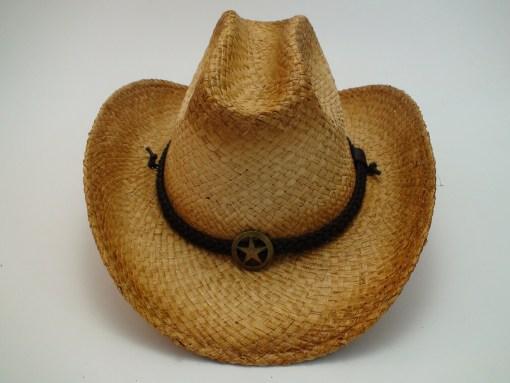 Western Straw Raffia Cowboy Hat with Sheriff Badge and Chin Cord