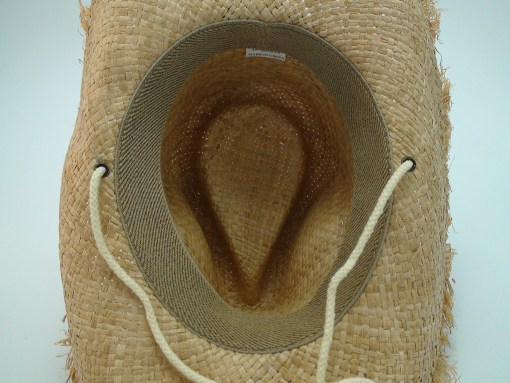 Western Straw Raffia Cowboy Hat with Frayed Edge and Chin Cord